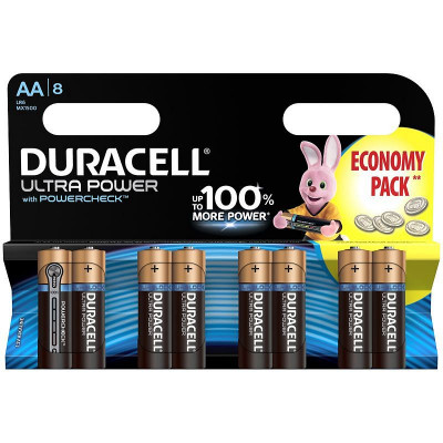 Батарейка Duracell UltraPower AA (LR06) алкалиновая, 8BL